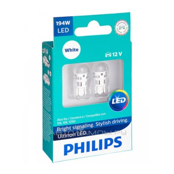 W5W 12V-LED 1,0W (W2,1x9,5d) 4000K Ultinon LED (карт.уп. 2шт.) T10 11961ULW4X2
